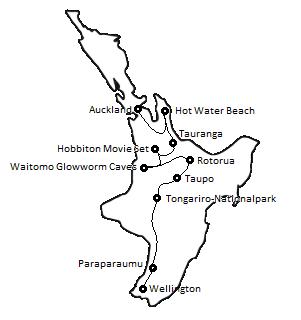Reiseroute durch Neuseeland Nordinsel