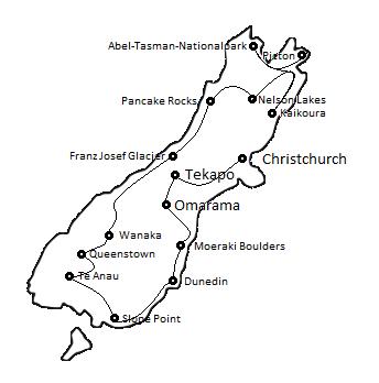 Reiseroute durch Neuseeland Südinsel