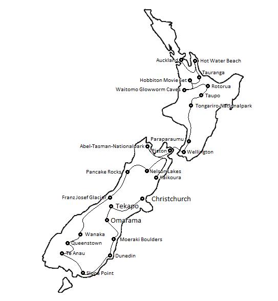 Unsere Route von Christchurch nach Auckland, das Ergebnis unserer Neuseeland Reisevorbereitung
