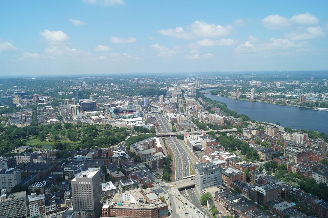 Blick auf Boston vom Skywalk Observatory