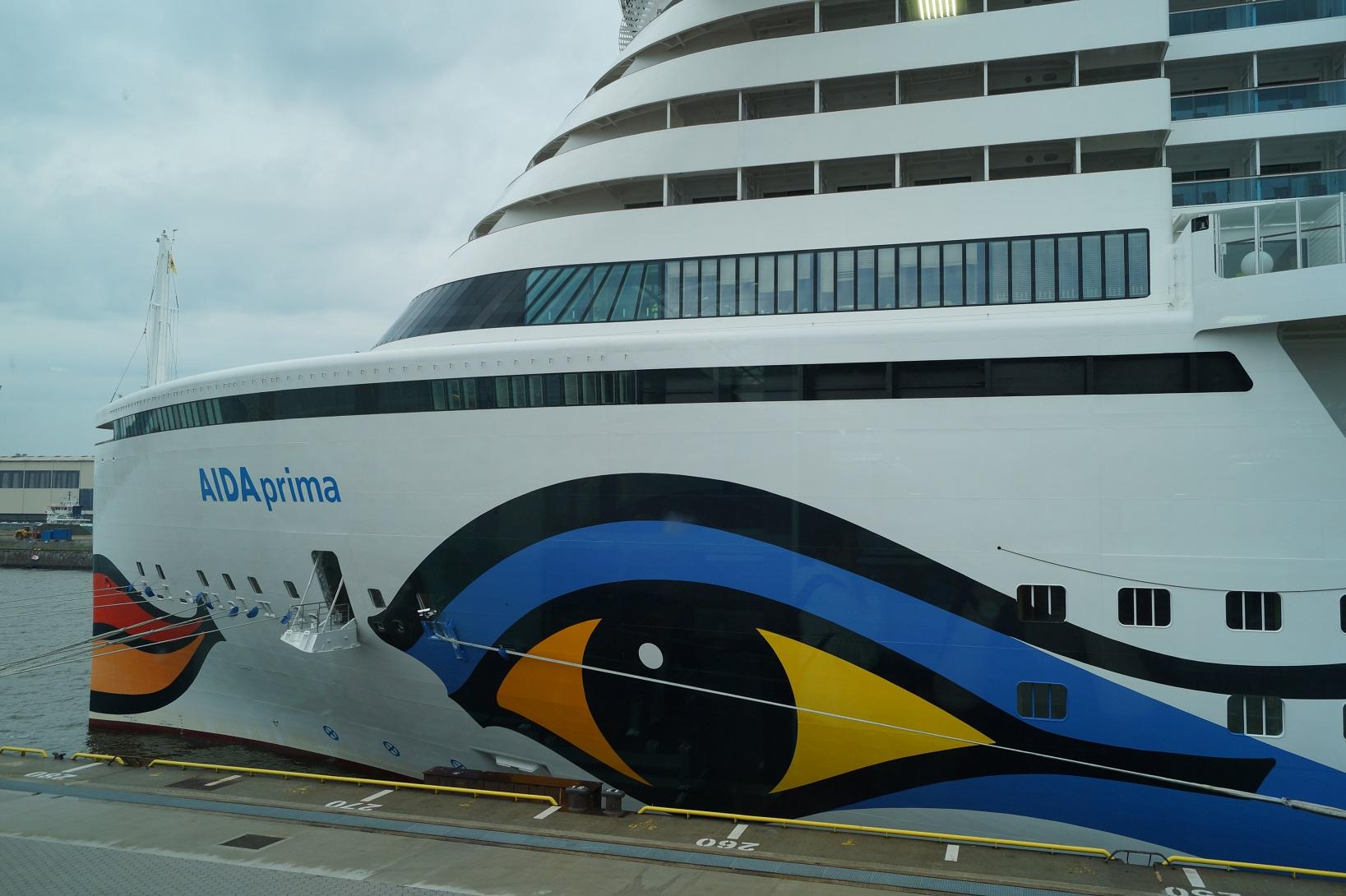 Die AIDA prima hat im Vergleich zu den Vorgängerschiffen ein Facelift am Bug und war unser Zuhause während der Metropolen Tour ab Hamburg