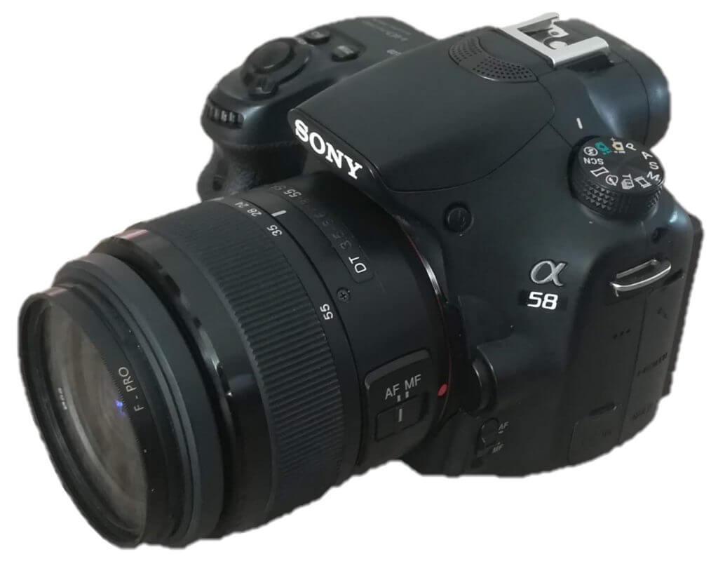 Unsere Kamera, die Sony-A58, der wohl wichtigste Teil unserer Ausrüstung